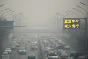 Smog in Beijing on an a