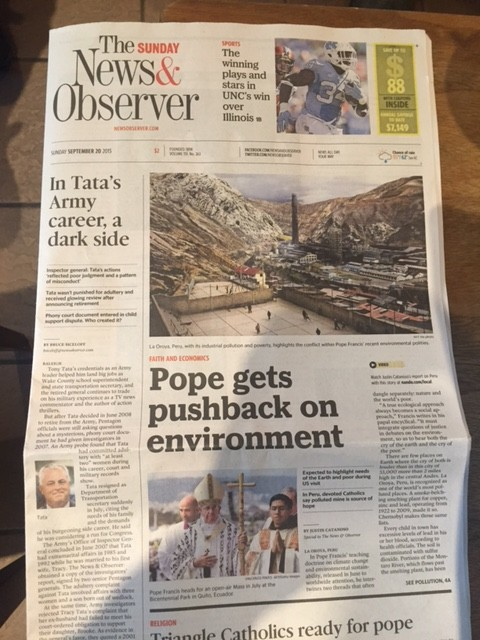 Front page, The Sunday News & Observer, Sept. 20, 2015. Photo by Justin Catanoso