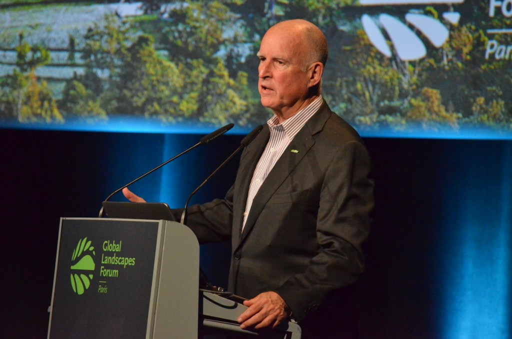 California Gov. Jerry Brown at the Global Landscape Forum, part of COP21 in Paris. Photo by Justin Catanoso