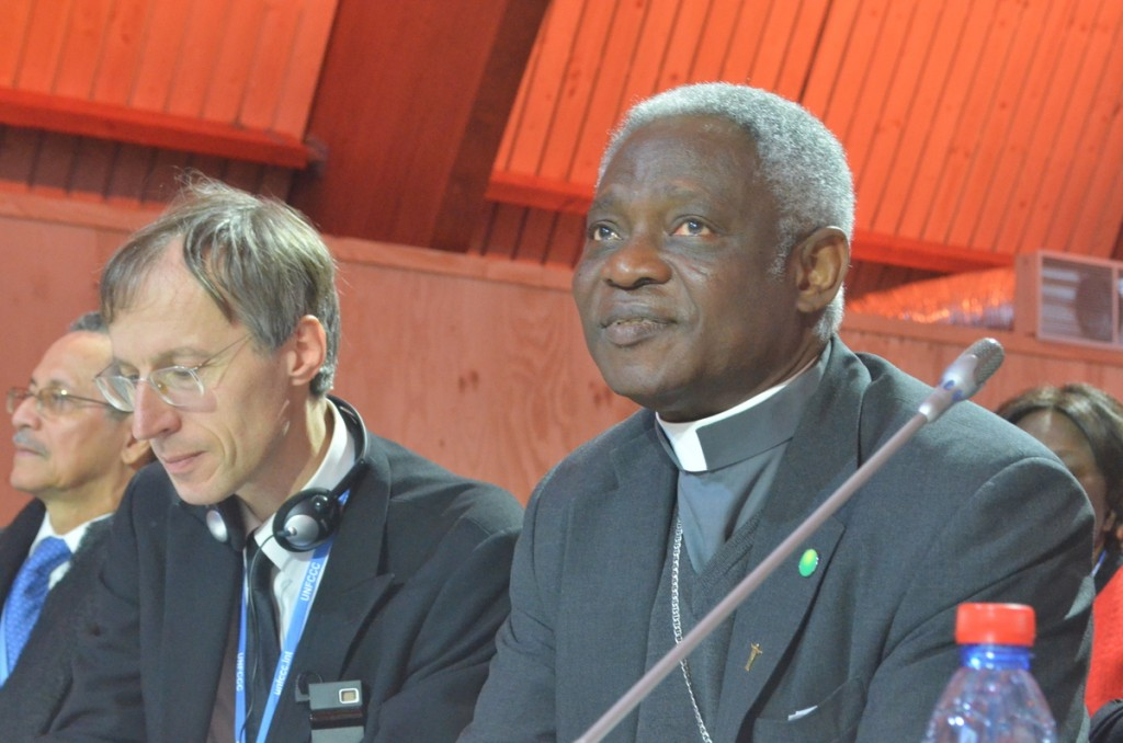 Cardinal Peter Turkson, (right) the pope's point person on the papal encyclical. Photo by Justin Catanoso
