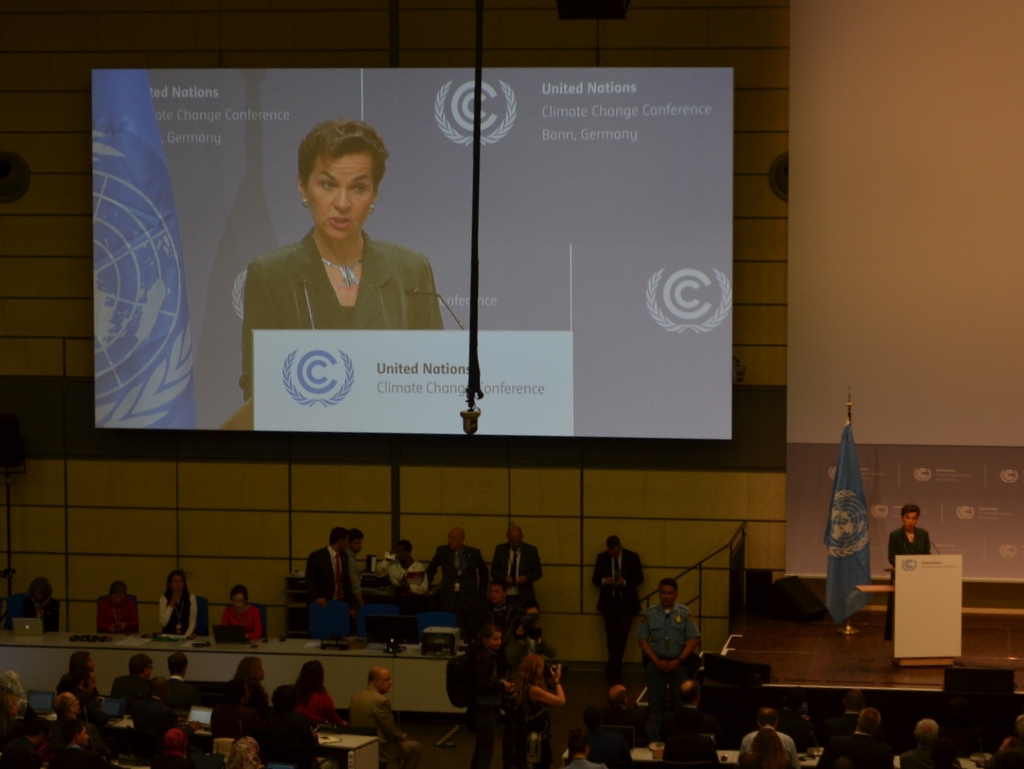 Christana Figueres, UNFCCC, at the opening session in Bonn