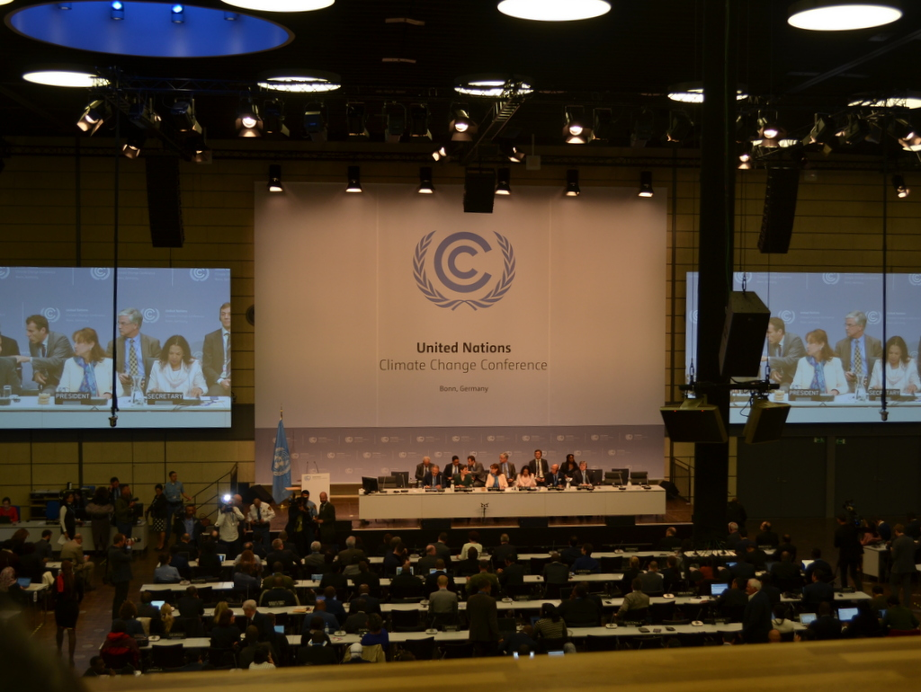 The opening session of the UN midyear climate conference in Bonn, Germany.