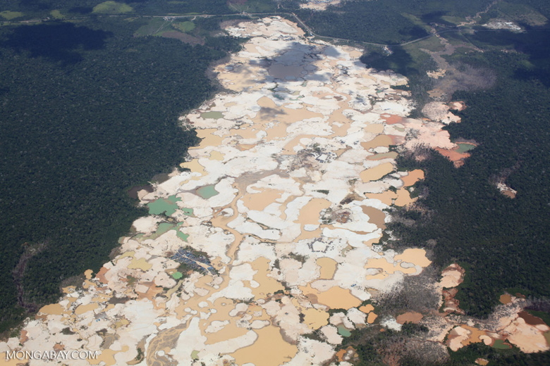 The reality of illegal gold mining: total environmental devastation in the Peruvian Amazon. Photo by Rhett Butler of Mongabay.com