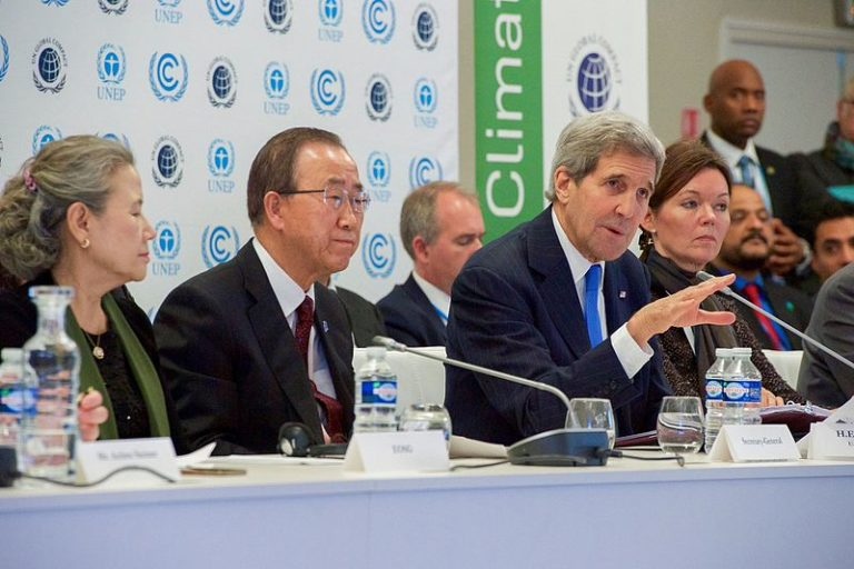 While the Obama Administration — including John Kerry shown here at the Paris summit — was instrumental in successfully negotiating the 2015 accord, the international community at COP22 says it is committed to moving forward without the US. China is likely to fill the leadership void created by Trump. Photo courtesy of the US State Department
