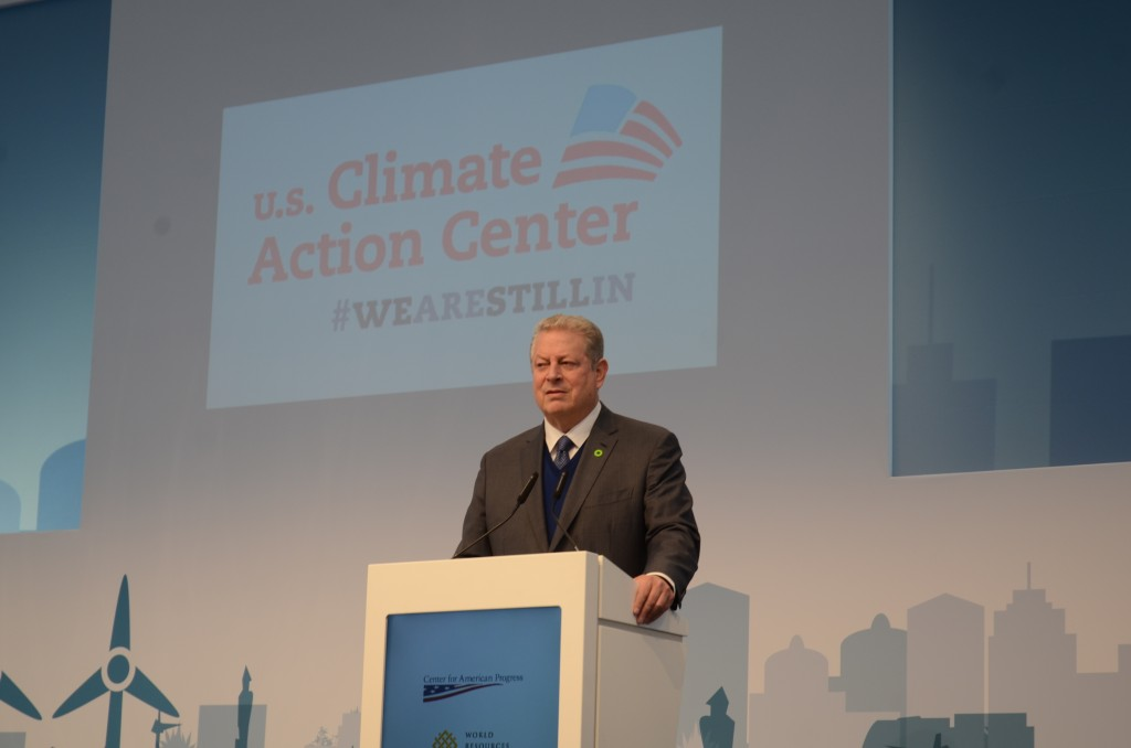 Former Vice Prsident Al Gore speaking about the economic transformation taking place globally because of the rapid shift to renewable energy sources at the US Climate Action Center during the America's Pledge event. Photo by Justin Catanoso
